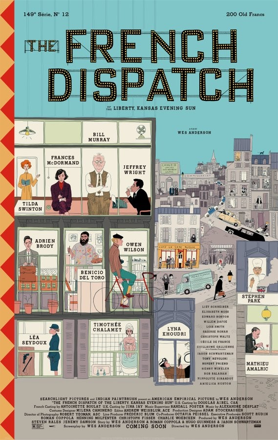 "Primer cartel de ""The French Dispatch"" lo nuevo de Wes Anderson"