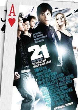 """Cartel """"21 Black Jack"""" norteamericano"""
