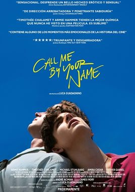 Cartel oficial en español de: Call Me by Your Name