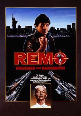 """Cartel de """"Remo: desarmado y peligroso"""" norteamericano 2"""