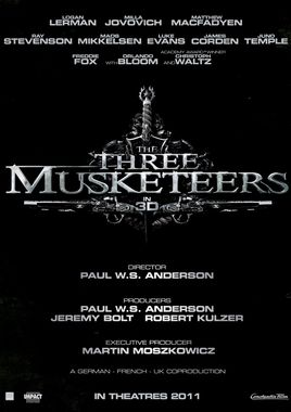 """Cartel """"Los tres mosqueteros (2011)"""" norteamericano"""
