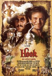 Cartel oficial en español de: Hook (El capitán Garfio)