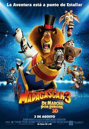 Cartel oficial en español de: Madagascar 3: de marcha por Europa