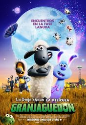 Cartel oficial en español de: La oveja Shaun. La película: Granjaguedón