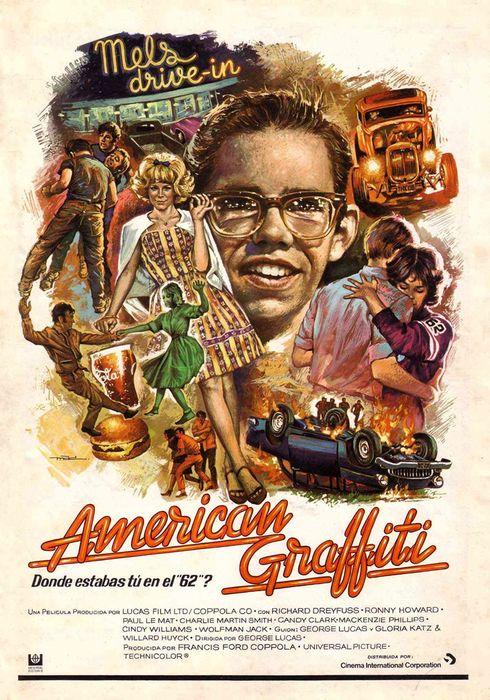 Cartel oficial en español de: American Graffiti