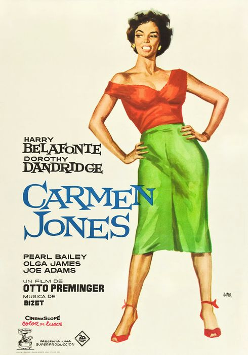 Cartel oficial en español de: Carmen Jones