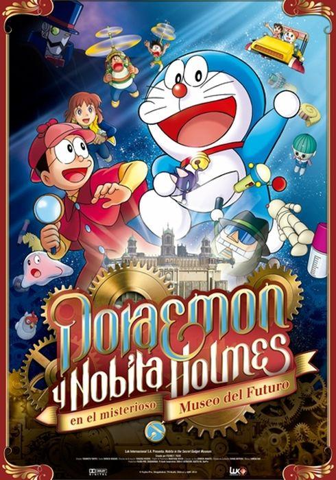 Cartel oficial en español de: Doraemon y Nobita Holmes en el misterioso museo del futuro