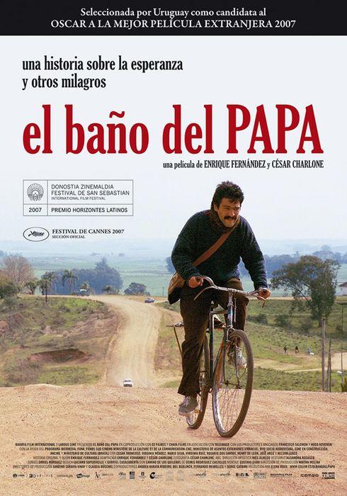 Cartel oficial en español de: El baño del papa