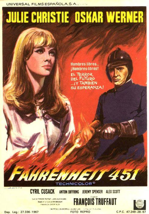 Cartel oficial en español de: Fahrenheit 451