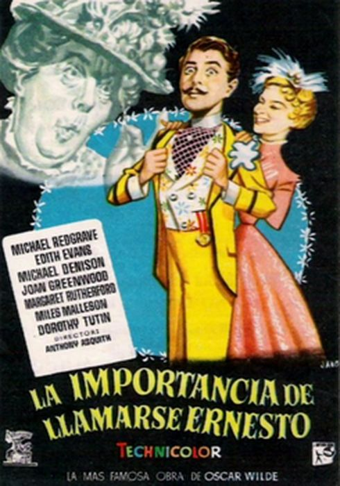 Cartel oficial en español de: La importancia de llamarse Ernesto (1952)