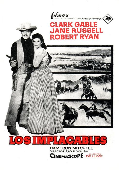 Cartel oficial en español de: Los implacables (1955)