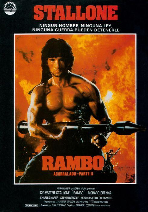 Cartel oficial en español de: Rambo: Acorralado Parte II
