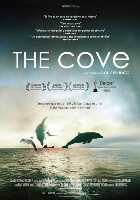 Cartel oficial en español de: The cove
