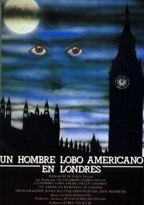 Cartel oficial en español de: Un hombre lobo americano en Londres