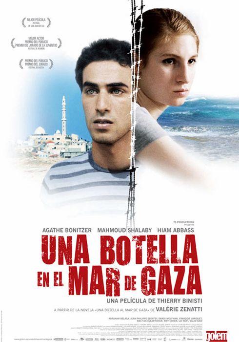 Cartel oficial en español de: Una botella en el mar de Gaza