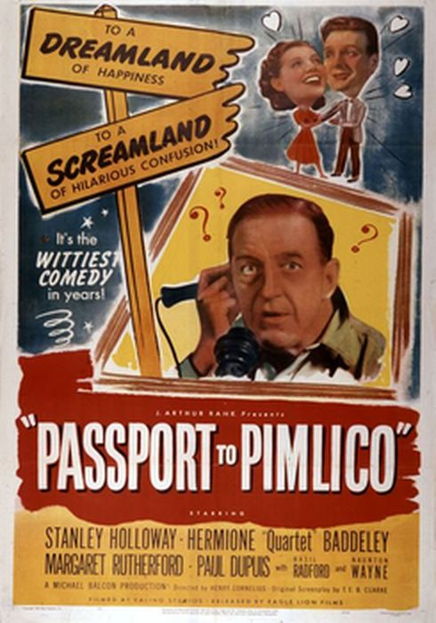 Cartel oficial en español de: Pasaporte para Pimlico